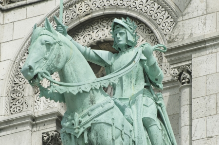 Paris, Equestrian Statue of Joan of Arc at Basilique du Sacr�-C�ur, Monmartre quarter  Stock Photo