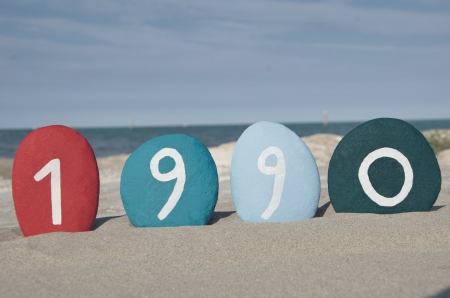 1990 on colourful stones Stock Photo