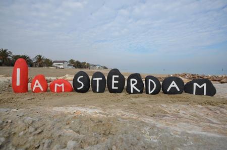 Ben Amsterdam seviyorum, taşlar kompozisyon Stock Photo