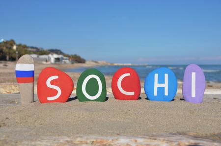 Sotchi, en Russie, souvenirs sur les pierres
