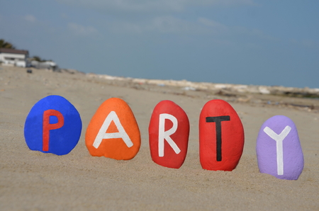 Party concept on colourful stones photo
