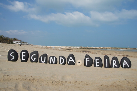 Segunda-feira, monday in portuguese on black stones