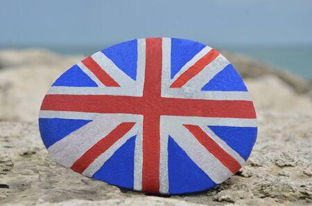 British flag on a stone