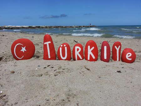 Turkey, Turkiye in turkish language on stones