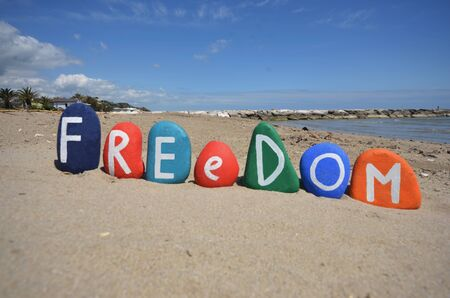 Concept of freedom with colored stone letters Stock Photo