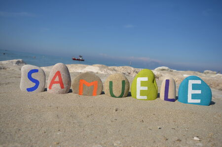 Samuele, male name on colored stones