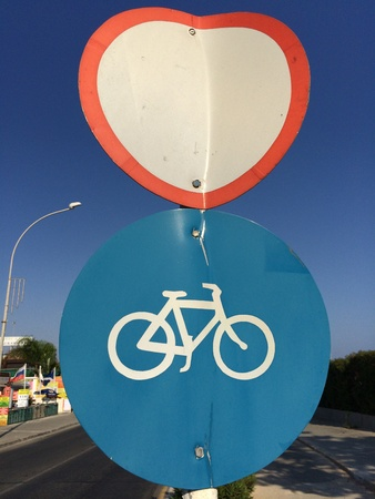 Bicycle path and road signs