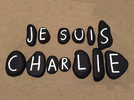 Je suis Charlie on black stones Stock Photo