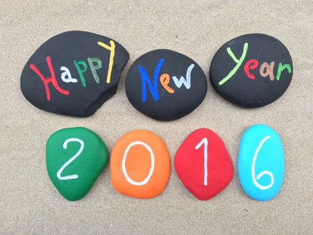 Happy New Year 2016 on multicolored stones
