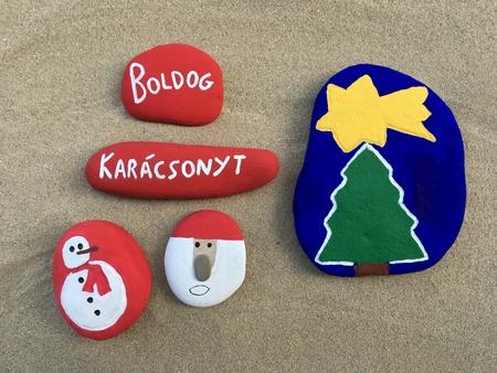 Boldog Karácsonyt on stones