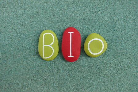 Bio text with green and red colored letters