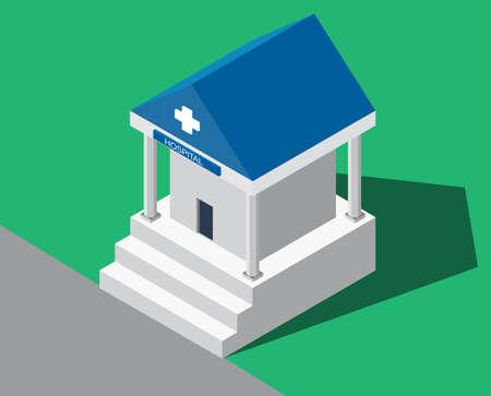medical building: Flat Isometric Hospital.  Medical building. Hospital building. Flat hospital. Medical center. Hospital icon