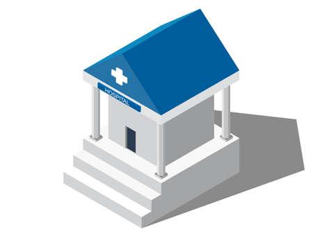 Flat Isometric Hospital. Medical building. Hospital building. Flat hospital. Medical center. Hospital icon