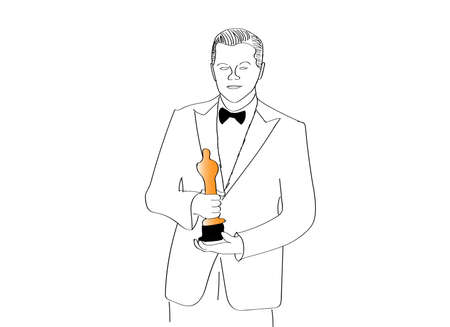 famous actor: MOSCOW, RUSSIA - MARCH 1: Actor Leonardo DiCaprio with the Oscar prize. Oscar statuette. Oscar Ceremony. Illustration
