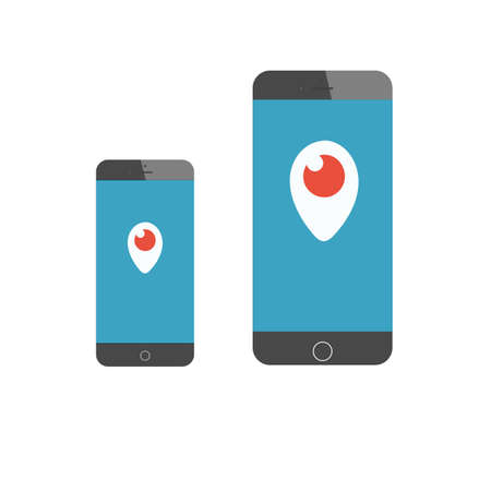 tehnology: FEBRUARY 26, 2016 - Vector periscope icon on phone screen. Vector periscope. Illustration