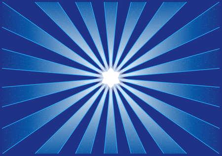starbursts: Ilustraci�n vectorial de una Starburst en tonos de azul con una estrella brillante centro. Sombreado con las mezclas, la utilizaci�n mundial de colores para facilitar el intercambio de color.