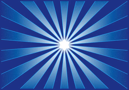 shines: Vector illustration of a starburst in shades of blue with a glowing centre star. Shading with blends, use of global colors for easy color exchange.