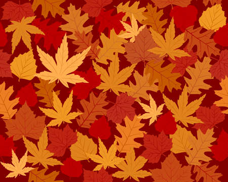 Seamless vector wallpaper of maple, oak and beach leaves in autumn colors
