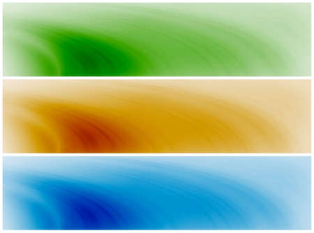 nice: Abstract banner background compostion - swirly waves in blue, green, orange, brown Stock Photo