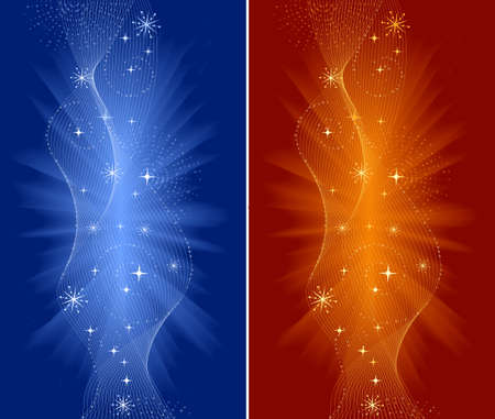 Festive backgrounds for Christmas, New Years Eve, etc. with spirals, swirls and stars in red, orange and blue.