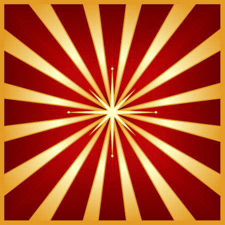 Square starburst in shades of red and gold with a glowing centre star. Use of blends, linear gradients and global colors. Vector