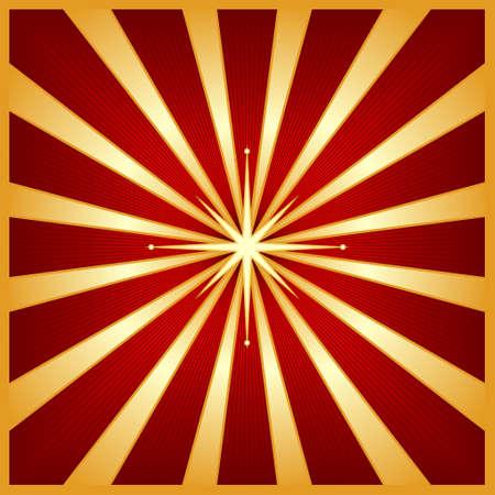 starbursts: Starburst cuadrados en tonos de rojo y oro con un brillante centro de estrella. Uso de mezclas, lineales y los gradientes de colores global.