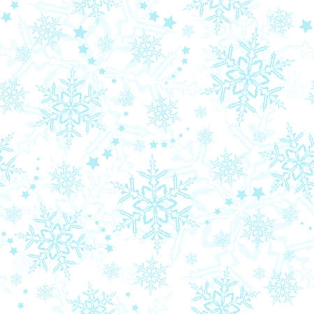Light blue snowflakes, winter pattern that will tile seamlessly Vector