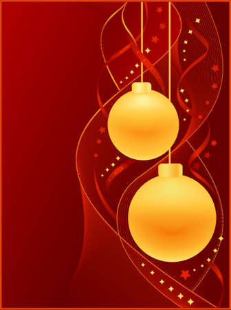 Vertical red Christmas card with golden   Christmas baubles, swirly decoration and stars.  Vector