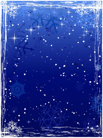 Vertical winter background with snowflakes and grunge elements in cold white and blues. Global colors. Vector
