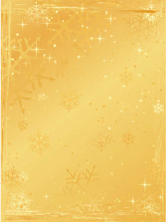 Golden Christmas background with snowflakes and grunge elements. Use of global colors and linear gradients. Vector