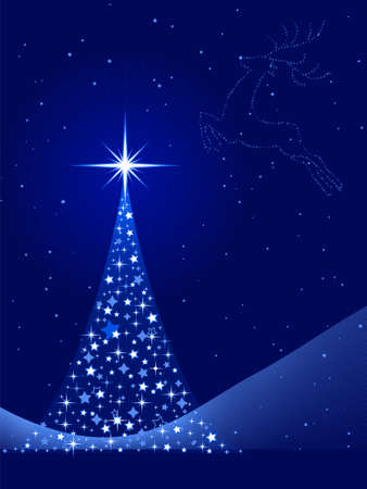 ertical blue background for Christmas, New Years Eve showing a Christmas tree made of stars and a reindeer in the sky. Global colors, blends. Vector