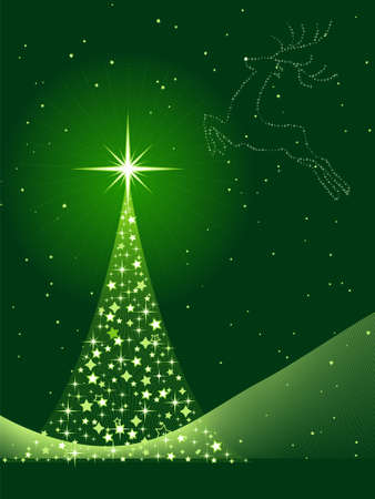 Vertical green background for Christmas, New Years Eve showing a Christmas tree made of stars and a reindeer in the sky. Global colors, blends.