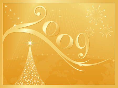 Happy New Year and merry Christmas 2009 for all of us! Use of global colors, blends, clipping masks. Vector