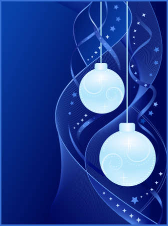 Vertical blue Christmas card with golden Christmas baubles, swirly decoration and stars. Global colors, blends and clipping masks. Vector