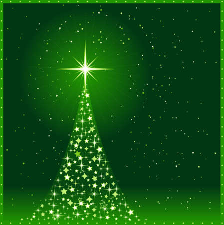 Square green Christmas background With Christmas tree Vector