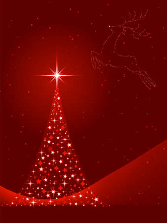Vertical red background for Christmas, New Years Eve showing a Christmas tree made of stars and the silhouette of a reindeer in the sky. Global colors, blends. Vector