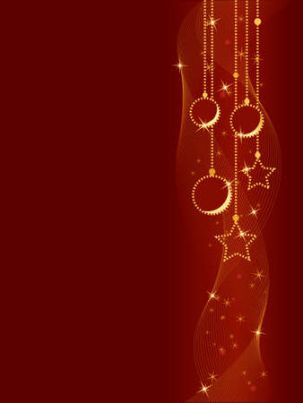 Vertical red Christmas background showing Christmas balls and stars with underlying wavy lines. Global colors, blends. Vector