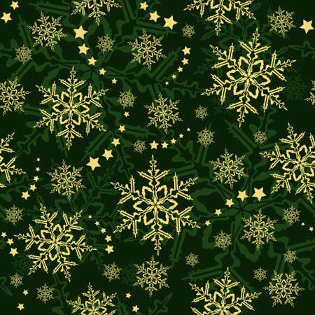 Seamless snowflakes and stars, winter wallpaper that will tile seamlessly. Stock Vector - 3929399