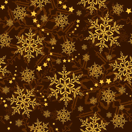 brown pattern: Seamless snowflakes and stars, winter wallpaper that will tile seamlessly.