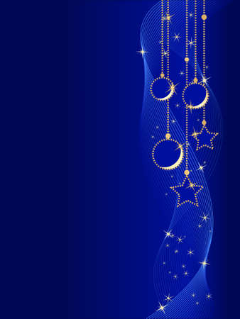Vertical blue Christmas background showing Christmas balls and stars with underlying wavy lines. Global colors, linear gradients, blends Vector