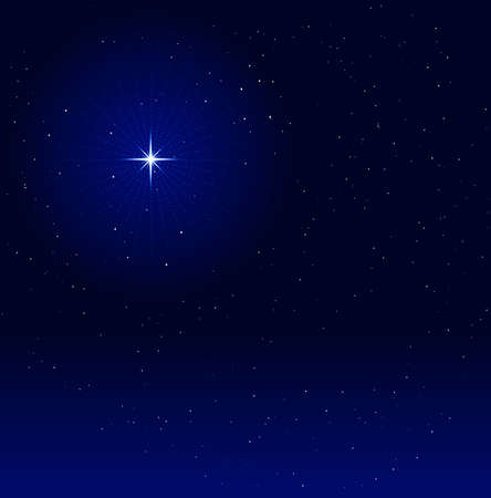 blends: Peaceful night background with a shiny star with halo. Global colors, linear gradient, blends. Illustration