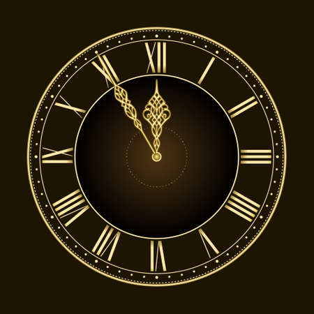 noon: Happy new year... or times nearly up! Stylish and elegant vector clock with the hands at five to twelve. Global colors, linear gradient, blends. Illustration