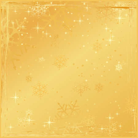 Square golden winter background with snowflakes, stars and grunge elements. Use of global colors and linear gradients. Vector