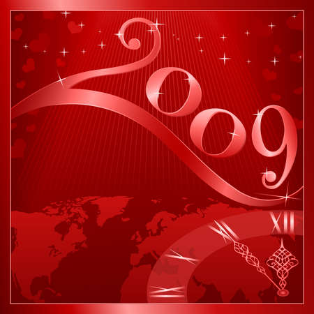 Red Happy New Year 2009 card with a clock at 5 minutes to 12. Use of global colors, blends, linear gradients. Vector