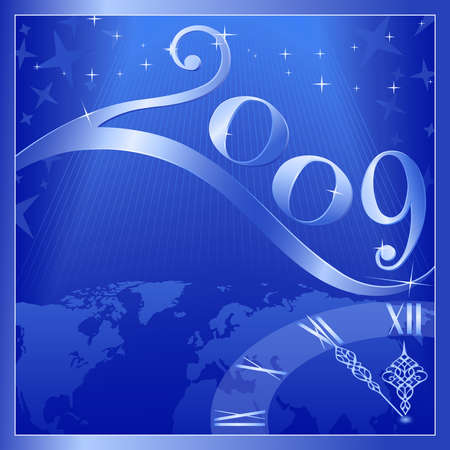 Blue Happy New Year 2009 card with a clock at 5 minutes to 12. Use of global colors, blends, linear gradients. Vector
