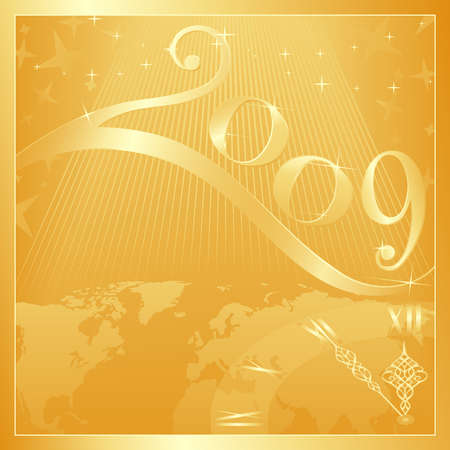 Golden Happy New Year 2009 card with a clock at 5 minutes to 12. Use of global colors, blends, linear gradients. Vector