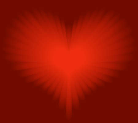 infatuation: Glowing red heart for Valentine, romance, etc. Global colors, blend. Illustration