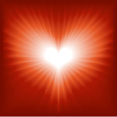 burst background: Glowing red and white heart for Valentine, romance, etc. Global colors, blend. Illustration