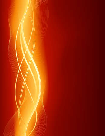 blazing: Glowing abstract wave background in shades of red gold. Use of global colors and gradients, blends
