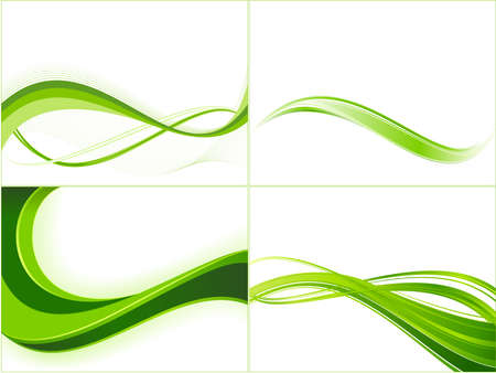 copy: Green ecology wave background template. Abstract background with copy space for   text. Linear gradients, blends, global colors. Illustration